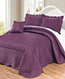 Serenta Matte Satin 4 Piece Bedspread Set, Queen, Prune Purple
