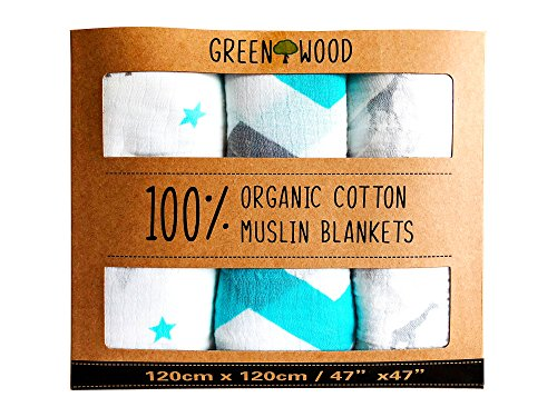 Muslin Swaddle Blankets - 100% Organic Cotton - 3 Pack 47 x 47 Ultrasoft and Hypoallergenic - Best Baby Shower Gift (Blue and Grey)