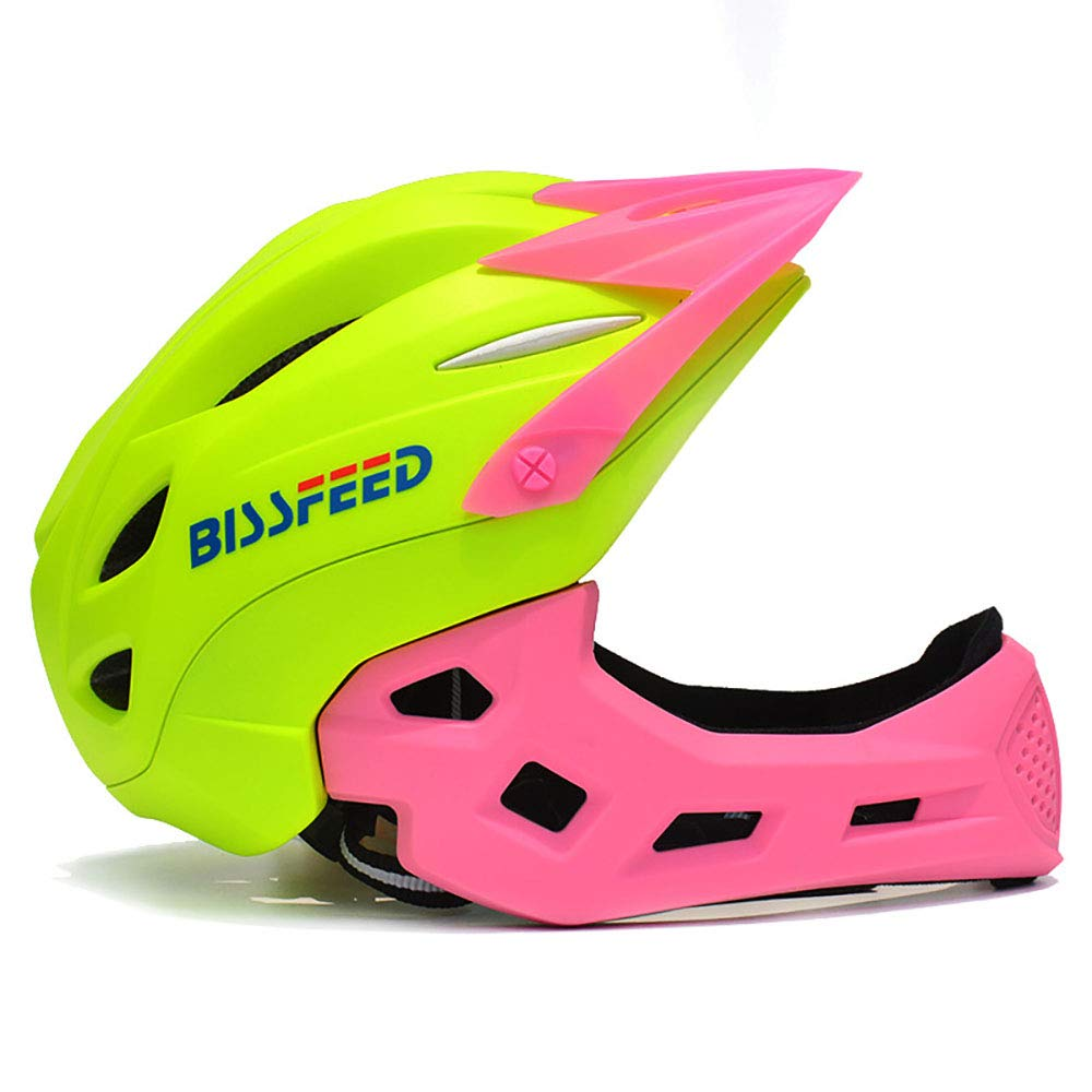 Greenpink ZHYY Bike Helmet kid Full Covered Face predection Detachable Suitable for Balance Bike Cycling Motocross MTV BMX Breathable Safety Multicolor,blueegreen