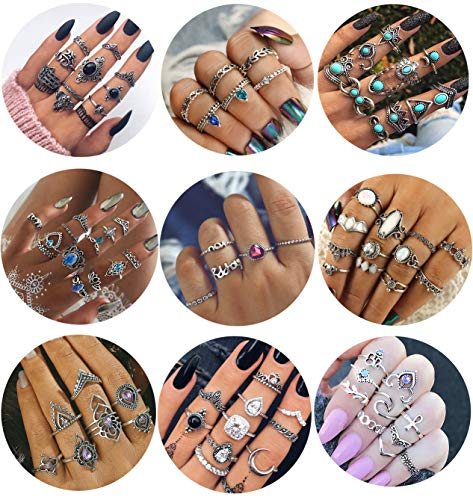 LOYALLOOK 84 Pcs Midi Ring Bohemian Knuckle Ring Sets Fashion Finger Vintage Silver Stackable Rings for Women Girls Knuckle Midi Rings