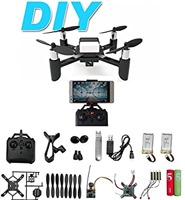DIY Mini RC Toy Quadcopter Drone Set Building Kit With FPV HD Camera RTF Helicopter For Kids with Extra Battery and AA Battery for Remote Controller by Go On 123