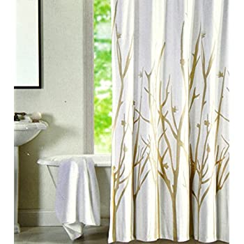 This Item Hotel Twenty One Cotton Shower Curtain Branches Tree Tan Beige  White 72 Inch By 72 Inch (White/tan)