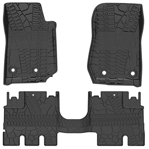 2018 Jeep Rubicon - oEdRo Floor Mats Liners Compatible for 2014-2018 Jeep Wrangler JK Unlimited 4 Door (Not for JL),TPE All Weather Protection, Includes Front and Rear Floor Liners