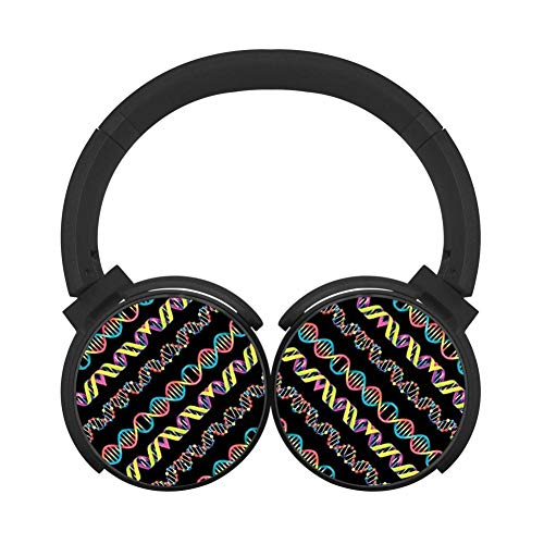 Gym Headphones Colorful Chromosome Bluetooth Headphones Unisex Over-Head Hi-Fi Stereo Wireless Headset Built-in Mic Reduce Noise -