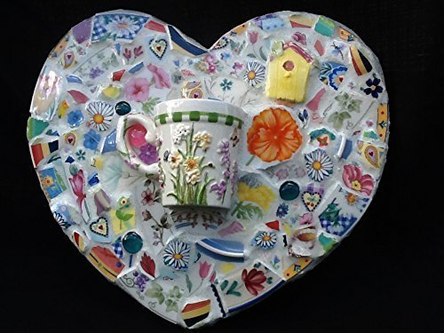 - Birdhouse flowers Heart wall hanging mosaic