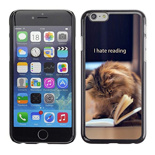 TopCaseStore / caoutchouc Hard Case Housse de protection la Peau - Reading Book Funny Cat Longhair Brown - Apple iPhone 6 Plus 5.5