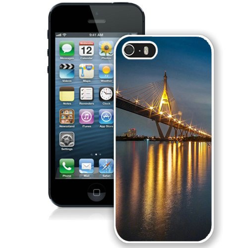 Coque,Fashion Coque iphone 5S Light Reflection Bridge At Night blanc Screen Cover Case Cover Fashion and Hot Sale Design