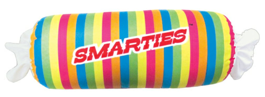 iscream Strawberry Scented Smarties Roll 24.75'' Microbead Pillow