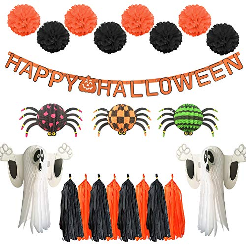 Tuoyi Scare Halloween Party Decorations Kit - Halloween Party Hanging Paper Tassels with Paper Pom Poms,Ghosts,Spiders and Happy Halloween Banners Set 34Pcs