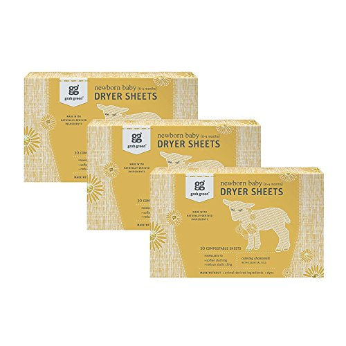 Grab Green Stage 1: Newborn Baby Dryer Sheets {0-4 Months}, Naturally-Derived & Compostable, Free of Wax & Animal-Derived Ingredients, Calming Chamomile, 30 Sheets, 3-Pack