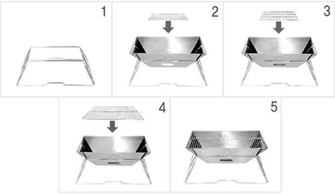 LXSKJ Parrilla Parrilla de carbón de Acero Inoxidable Plegable portátil Parrilla de Barbacoa al Aire Libre Aparato de Cocina for Acampar Mochilero Senderismo Picnic: Amazon.es: Hogar