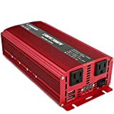 Cantonape 1500W/3000W(Peak) DC 12V to 110V AC Power Inverter Converter with Daul 3.1A USB Car Adapter, Replaceable Fuses and Cigarette Lighter for Car Home Laptop Truck