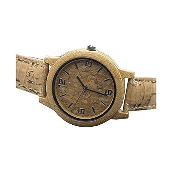 Reloj Hecho a Mano de Corcho Natural con bambú, Reloj de Pulsera de Cuarzo Vegano Unisex ...