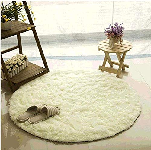 Bedroom and Nursery 80cm CULASIGN Shaggy Pastel Round Rug for Living Room beige