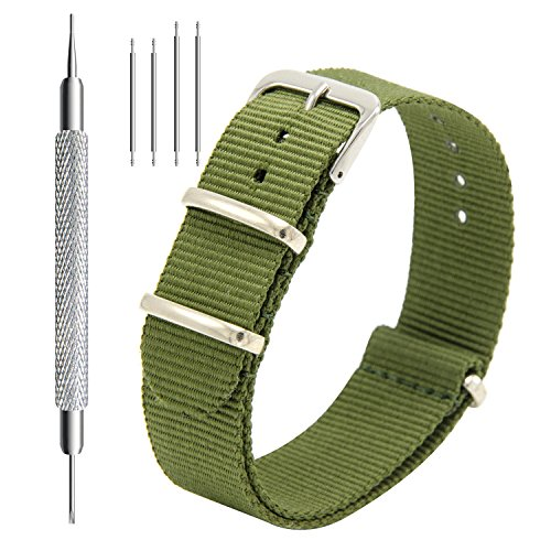 Nato Strap 4 Packs - 16mm 18mm 20mm 22mm 24mm Premium Ballistic Nylon Watch Bands Zulu Style with Stainless Steel Buckle