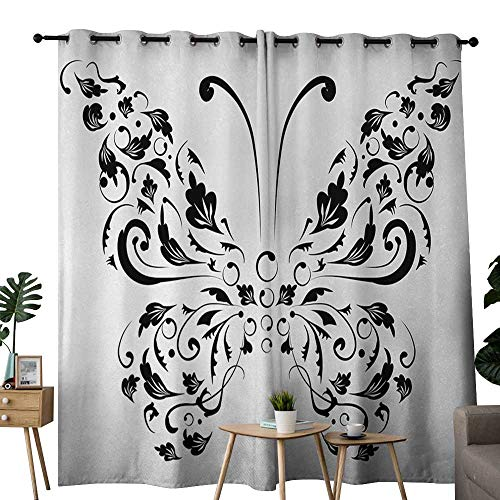 NUOMANAN Customized Curtains Butterfly,Silhouette of Moth with Swirl Floral Blossom Line Spirit Animal Illustration,Black and White,Blackout Draperies for Bedroom Living Room 84