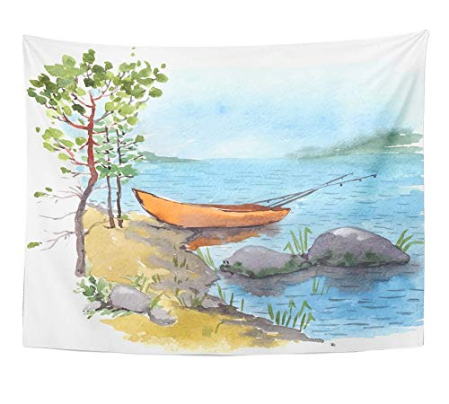 Price comparison product image Emvency Tapestry Watercolor Painting of Bank Lake River with Fisherman Boat with Fishing Roods Wall Hanging Polyester Fabric for Bedroom Living Bedspread Room Dorm Decorations 60x80 Inches