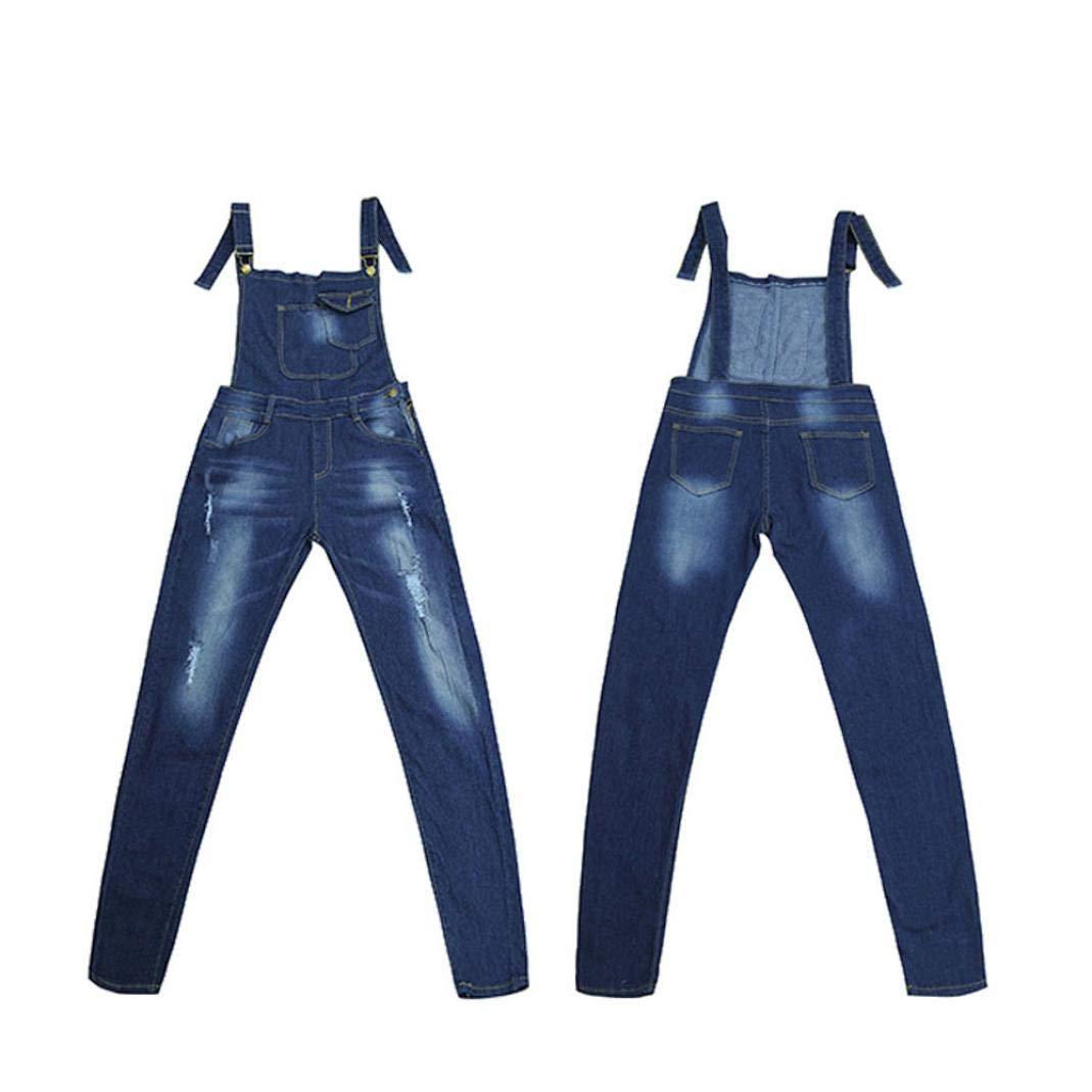 OWMEOT Women's Classic Denim Bib Strap Ripped Pocket Overall