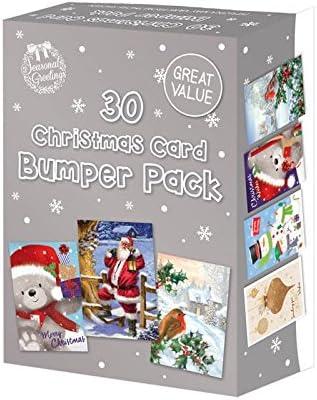 Tarjetas de Navidad, variedad de diseños tradicionales, paquete de 30 unidades: Amazon.es: Hogar