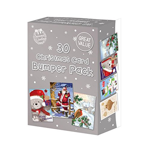 30 Rectangle Assorted Bumper Box New Variety Pack Great Value Christmas Cards The Home Fusion Company