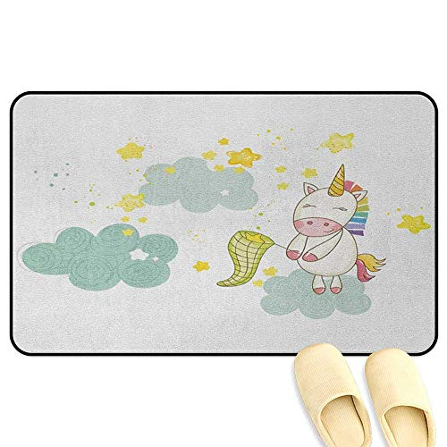 homecoco Unicorn Floor Mat Rug Indoor Baby Mystic Unicorn Girl Sitting on Fluffy Clouds and Hunting Nursery Image Green Yellow Kitchen Decor mats W19 x L31 INCH