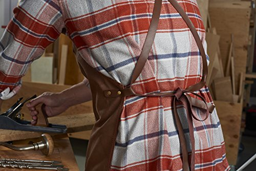 Craftsmans Guild Waxed Canvas Heavy Duty Apron Leather Straps Utility Tool BBQ Cooking Chefs Cooks Shop Woodworking for Men & Women by Craftsmans Guild (Image #3)