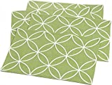 """Unique & Custom {13'' x 19'' Inch} Set Pack of 4 Rectangle """"Flat & Smooth Texture"""" Large Table Placemats Made of Flexible Polyester w/ Modern Swirled Vibrant Tile Design [White & Green Color]"""