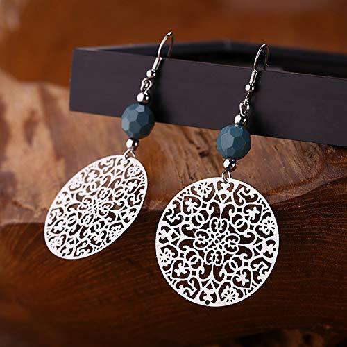 Fashion Dangle Earrings for Women Retro Round Drop Earrings Lightweight Alloy Disc Hook Earrings