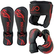 Kids Boxing Gloves, Headgear and Shin Guards (3-PCs Set) by JP – Child Friendly Design, Synthetic Leather, Adj