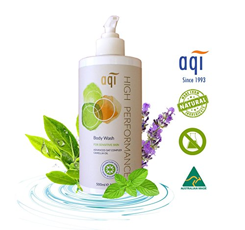 Sensitive Skin Body Wash 16.9 fl oz - For Dry & Itchy Skin - Hypoallergenic Eczema Natural Body Wash for Men & Women - Soap, Fragrance & Sulphate Free Vegan Shower Gel - Made in Australia By AQI (Best Male Body Wash For Dry Skin)