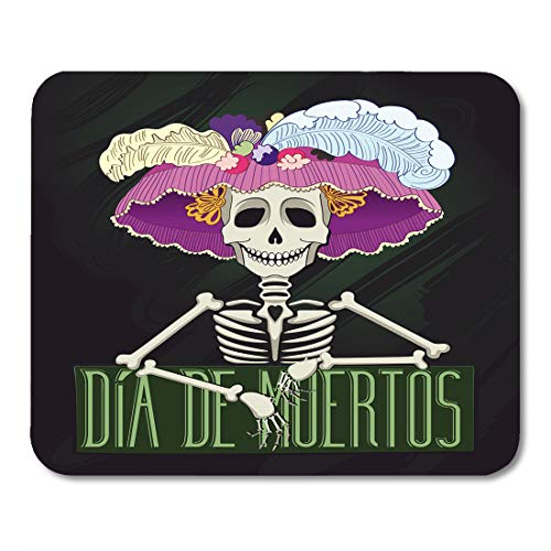 Emvency Mouse Pads Day of Catrina Dia De Muertos The Dead Fiesta Spanish Bone Carnival Mousepad 9.5