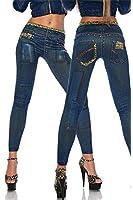 Graffiti Demin Blue Jeggings Stretch Pants Leggings Pencil Slim Jeans Tights