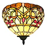 Amora Lighting AM1080WL12 Tiffany Style 1 Light Floral Wall Lamp Sconce - 12-Inch