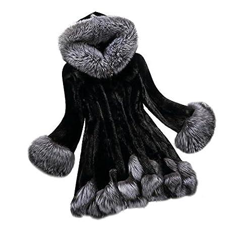 SunWard Womens Fashion Long Sleeve Parka Outwear Fox Fur Coat (L2, black)