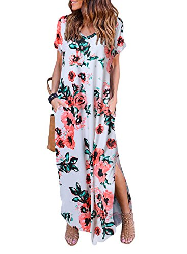 Women's Summer Maxi Dress Casual Loose Pockets Long Dress Short Sleeve Split (White Flower, M)