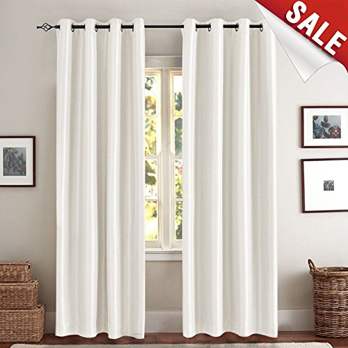 Moderate Blackout Curtains for Bedroom Pearl White 63 inch Quality Faux Silk Window Curtains One ...