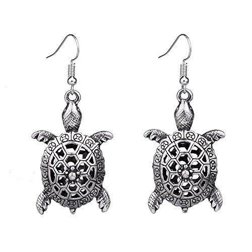 LAMEIDA Lovely Turtle Shape Pendant Earrings Dangle Earrings Hook Jewelry Accessories for Women Girls Birthday Festival Party Gift (Earrings Charm Turtle)