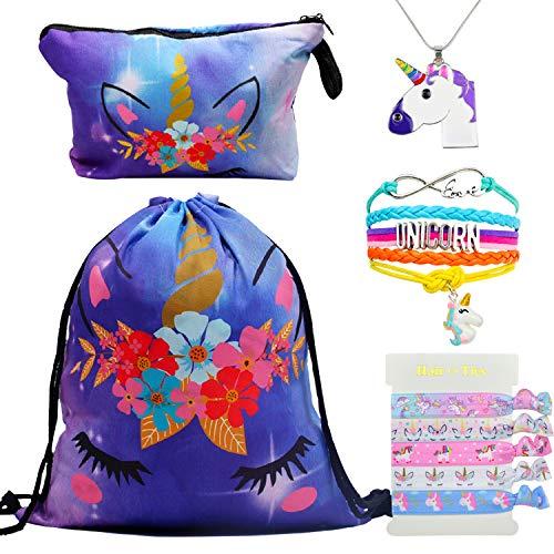 DRESHOW Unicorn Gifts for Girls Drawstring Backpack/Make Up Bag Unicorn Set Children Party ()