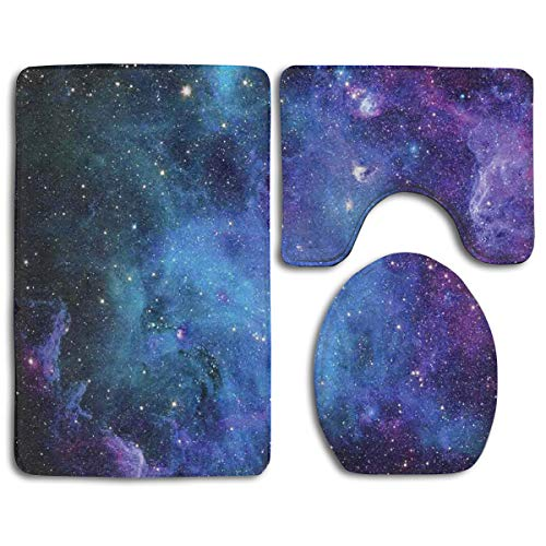 CCBUTBA Bathroom Rug Mats Set 3 Piece Galaxy Stars in Space Celestial Astronomic Planets in The Universe Milky Way Extra Soft Bath Rugs (20