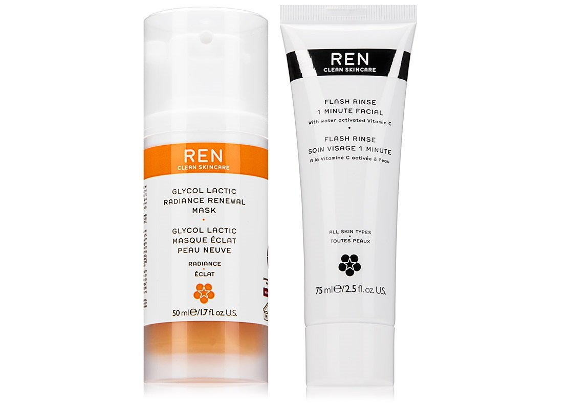 REN Skincare Glycol Lactic Radiance Renewal Mask and 1 Minute Flash Rinse Bundle With Grape and Lemon Fruit Extract, Vitamin C and Orange Flower Oil, 1.7 fl. oz. and 2.5 fl. oz. each
