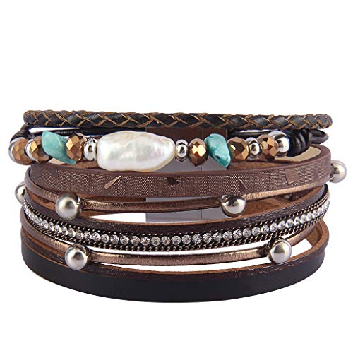 Jenia Leather Wrap Around Bracelet Multi Rope Boho Bracelets Trendy Cuff Bracelets Baroque Pearls Bracelet Bohemian Jewelry Mother's Days Birthday Gifts for Women, Teens Girl, Daughter, Sister