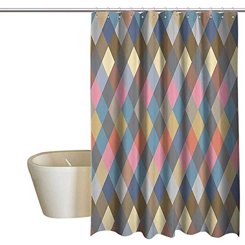 Geometric Decor Collection Floral Shower Curtain Colorful Rhombus Rural Rustic Classical Traditional Tablecloth Design Print Metal Build W72 x L96 Soft Pink Cream Beige ()