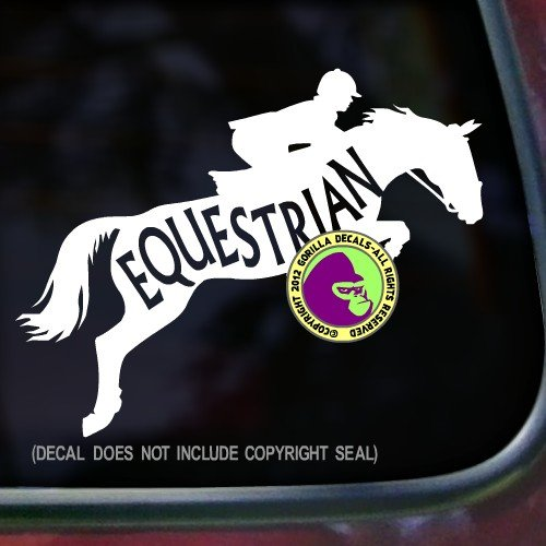 The Gorilla Farm Hunter Jumper EQUESTRIAN INSIDE Jumping Horse Decal Vinyl Bumper Sticker Laptop Window Car Trailer Wall Sign WHITE