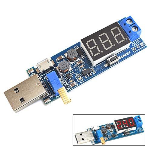 USB Desktop Power Supply SDTC Tech Buck Boost Converter Module DC 3.5V~12V 5V to DC 1.2-24V 3.3V 9V 12V 24V Adjustable Voltage Regulator Step Up Down Volt Transformer Board with Digital Display