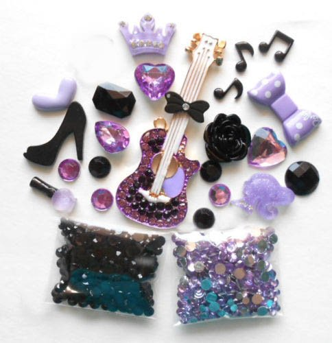 LOVEKITTY - DIY 3D Rhinestones Purple Guitar Bling Bling ...