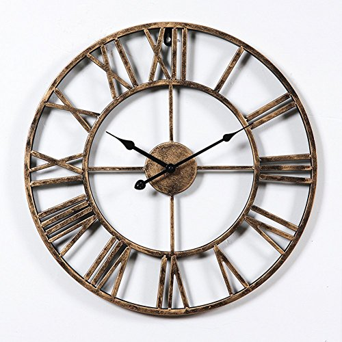 Hunter Garden Crafts Vintage Retro Iron Metal Wall Clock with Roman Numerals (Bronze)