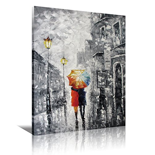 Eatco HD Art Wooden Framed Canvas Art Lovers under the one umbrella HD Prints on Canvas Art, Palette Knife Painting,Black,White,Red,Blue,Stretched ready to Hang 12x16 inch(30x40cm) 1pc (Art 1' Print Framed)