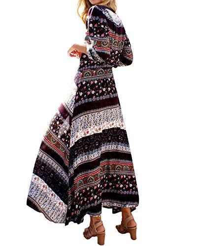 Lungo Manica Maxi Casual Mezza Nero Vestito Elegante Copricostume Floreale Donna Abito StyleDome XwCqt0vxn