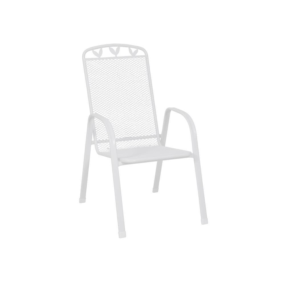 greemotion 4 Stück Stapelsessel Toulouse, aus Stahl/Kunststoff-ummantelt, 55 x 97 x 73 cm, Sitzhöhe 43 cm, max. 110 kg, Gewicht 5 kg, in weiß