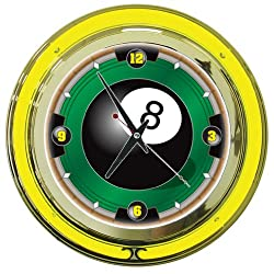8 Ball Chrome Double Ring Neon Clock, 14
